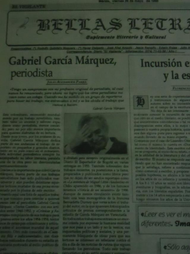Publicado inicialmente en el Suplemento Literario y Cultural Bellas Letras, del Diario El Vigilante. Mérida, viernes 29 de mayo de 1998